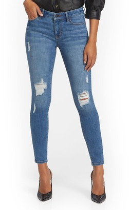 New York & Co. Tall Lexi Mid-Rise Destroyed Super-Skinny Jeans - Fetching Wash