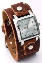 Nemesis #BB516S Men's Brown Wide Leather Cuff Band Analog Dial Watch