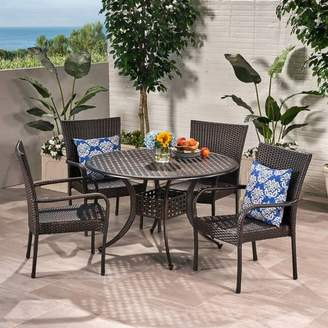 Christopher Knight Home Littleton 5pc Wicker and Cast Aluminum Dining Set - Bronze/Brown