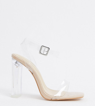 Public Desire Wide Fit Tribute clear sandals with square toe in beige