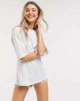 Asos Design DESIGN t-shirt with corset detail in ice gray marl