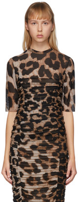 Ganni Brown and Beige Mesh Leopard T-Shirt