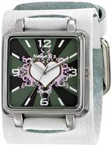 Nemesis Women's WGHST828W Classic White Heart Leather Cuff Quartz Watch