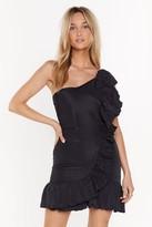 Nasty Gal Womens Going Solo One Shoulder Ruffle Dress - black - 12