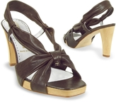 Alberto Gozzi Dark Brown Leather Straps Platform Sandal Shoes
