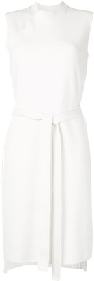 Shanghai Tang Pleated Belted Midi Dress