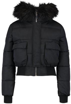 boohoo Petite Luxe Faux Fur Hood Sporty Cropped Coat