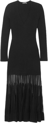 Alexander McQueen Mesh-paneled Ribbed-knit Dress