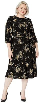 Lauren Ralph Lauren Plus Size Floral Fit-and-Flare Dress (Black/Gold Ochre/Multi) Women's Clothing