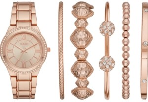 Folio Women's Rose Gold-Tone Bracelet Watch 37mm Gift Set