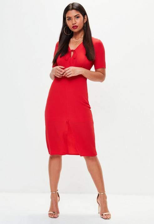 Missguided Red Split Front Tie Midi Dress