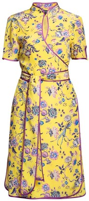 Rumour London Akiko Kimono-Style Silk Wrap Dress With Oriental Print In Yellow