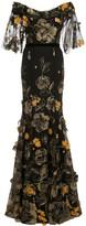 Marchesa floral appliqued gown