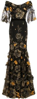 Marchesa Notte Floral Appliqued Gown