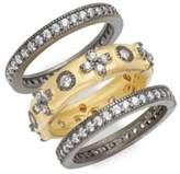 Freida Rothman Classic Clover Eternity Cubic Zirconia & 14K Gold-Plated Sterling Silver Stack Ring- Set of 3