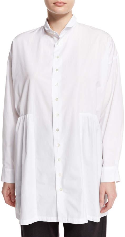 eskandar Long Double-Collar Shirt, White