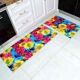 Creative 3D Sunflower Carpet Runner Rug 2 Pieces Set