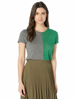 Majestic Filatures Women's Linen Bicolor Short Sleeve with Rounded Neck Smoke Green Hand Dyed 1