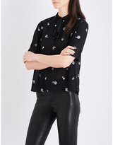 The Kooples Floral-embroidered chiffon blouse