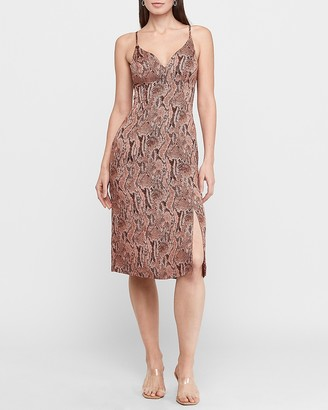 Express Snakeskin Print V-Neck Slip Dress