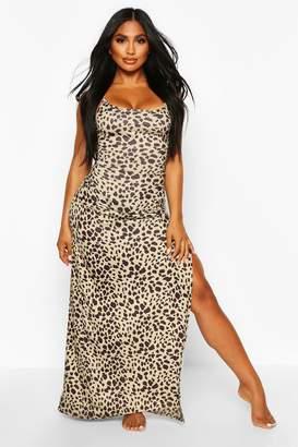 boohoo Leopard Jersey Split Leg Maxi Beach Dress