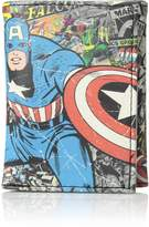 Marvel Mens Captain America Faux Leather Graphic Trifold Wallet Blue