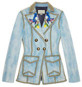 Gucci Embroidered denim jacket with studs