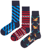 Happy Socks Wavy, Stripes & Origami Socks (3 PK)