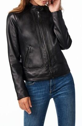 Bernardo Stitch Detail Sheepskin Leather Racer Jacket
