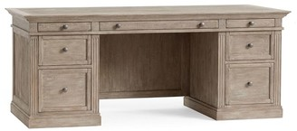"Pottery Barn Livingston 75"" Executive Desk with Drawers"