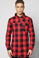Boohoo Long Sleeve Longline Check Shirt