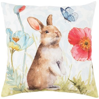 C&F Home Bunny and Butterfly Spring Indoor/Outdoor 18 x 18 Accent Decorative Accent Throw Pillow