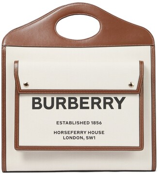 Burberry Pocket Medium leather-trimmed canvas tote