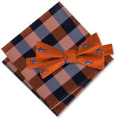 Tommy Hilfiger Men's Shark Print Bow Tie & Gingham Pocket Square Set
