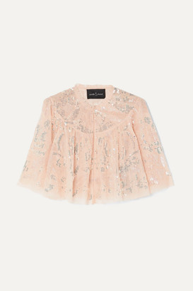 Needle & Thread Cropped Sequined Tulle Jacket - Baby pink