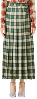 Gucci Wool Tartan Pleated Maxi Skirt