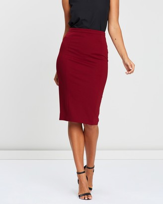 Atmos & Here Atmos&Here - Women's Red Pencil skirts - Naomi Pencil Skirt - Size 6 at The Iconic
