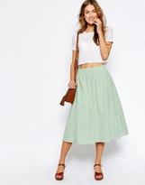 Asos Full Midi Skirt in Linen