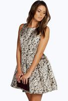 Boohoo Felicity Floral Foil Skater Dress