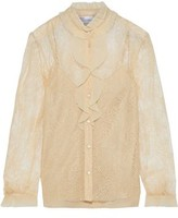 RED Valentino Ruffled Chiffon-trimmed Lace Blouse