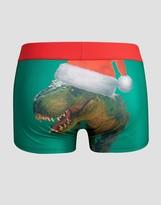 Asos Holidays Hipsters With Santa Dinosaur Print In Microfibre