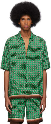 Dries Van Noten Green Geometric Classen Shirt