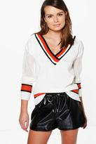 Boohoo Katie Sports Stripe V-Neck Cricket Jumper
