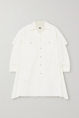 MM6 MAISON MARGIELA Paneled Denim And Cotton-poplin Shirt Dress