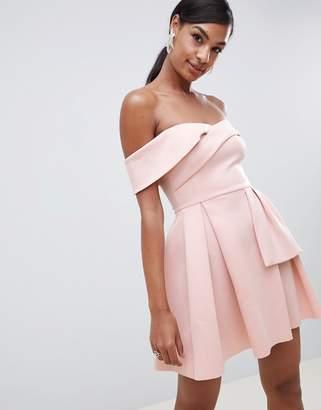 Bardot Asos Design ASOS DESIGN Fold Wrap Front Mini Skater Dress-Pink