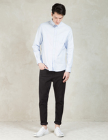 Sunspel Blue Long Sleeve Button Down Shirt