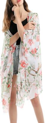 Coeur De Vague Coeur de Vague Women's Kimono Cardigans White - White & Pink Floral Chiffon Kimono - Women