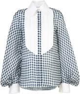 Dice Kayek gingham poet sleeve blouse