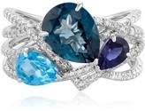Effy Jewelry Effy Ocean Bleu 14K White Gold Blue Topaz and Diamond Ring, 4.34 TCW