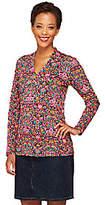 Liz Claiborne New York Printed V-Neck Knit Long Sleeve Top
